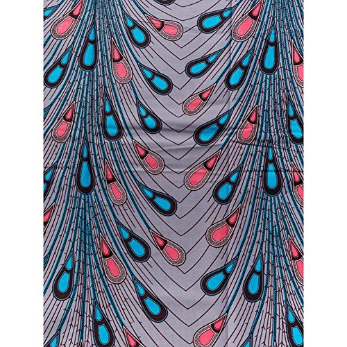 Textiles African Real Wax Feather Design Grey Blue Red 6 Yards for Wedding Party Dress rw1812302