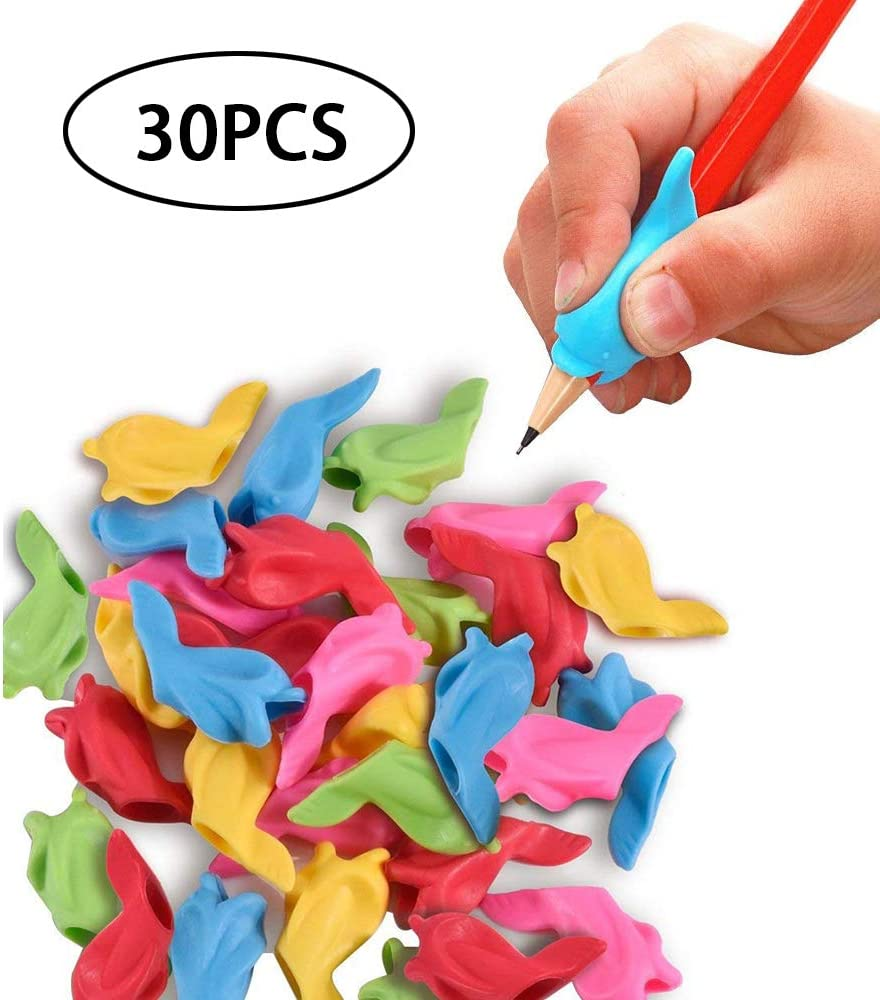 Wolfride 30PCS Pencils Grips Silicon Pencil Grippers Writing Aid Grip Pencil Grippers for Kids Handwriting