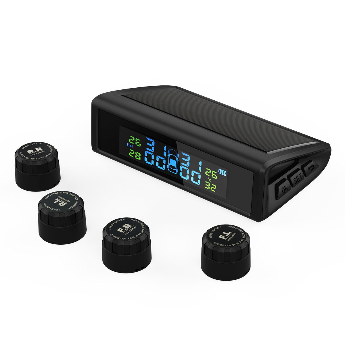 HiGoing Tire Pressure Monitoring System, Solar Wireless TPMS Built-in 450mAh Battery, 4 External Sensors (0-8.0 Bar/0-116 Psi, 49-85℉/65-85℃), 6 Alarms Real-time High Monitor Temperature & Pressure