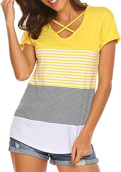 FAMILIZO Camisetas Mujer Manga Corta Camisetas Casual Mujer Verano Rayas Camisetas Mujer Tallas Grandes Camisetas Mujer Verano Blusa Mujer Camisetas Basicas Mujer Manga Corta Tops: Amazon.es: Ropa y accesorios