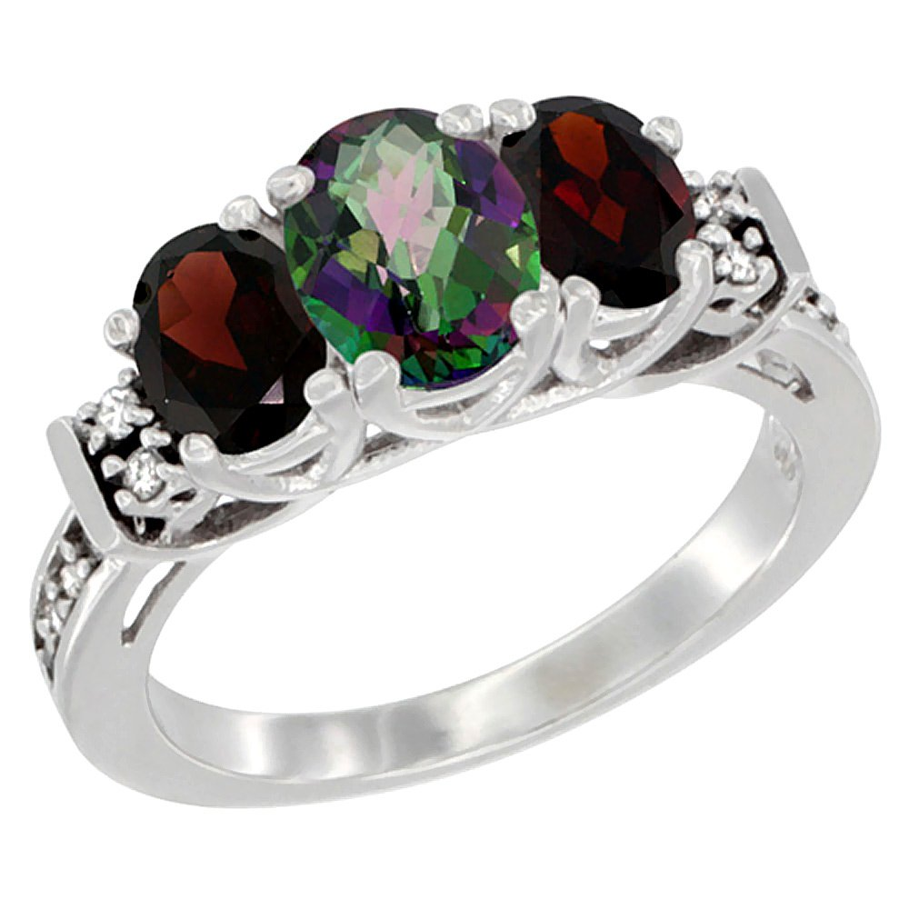 10K White Gold Natural Mystic Topaz & Garnet Ring 3-Stone Oval Diamond Accent, size 8