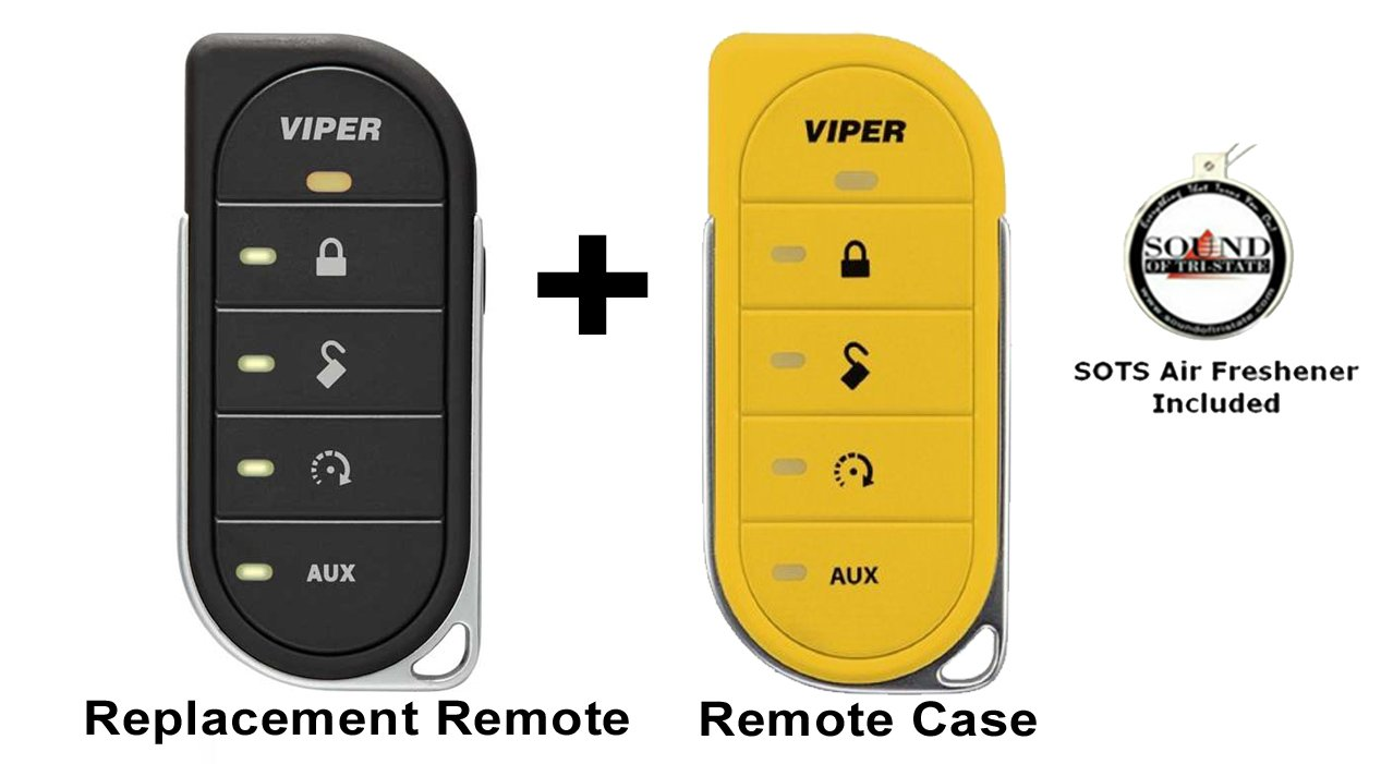 Viper 7856V 2 Way LED Remote Transmitter with a Yellow Colored Cover 87856VY and a FREE SOTS Air Freshener