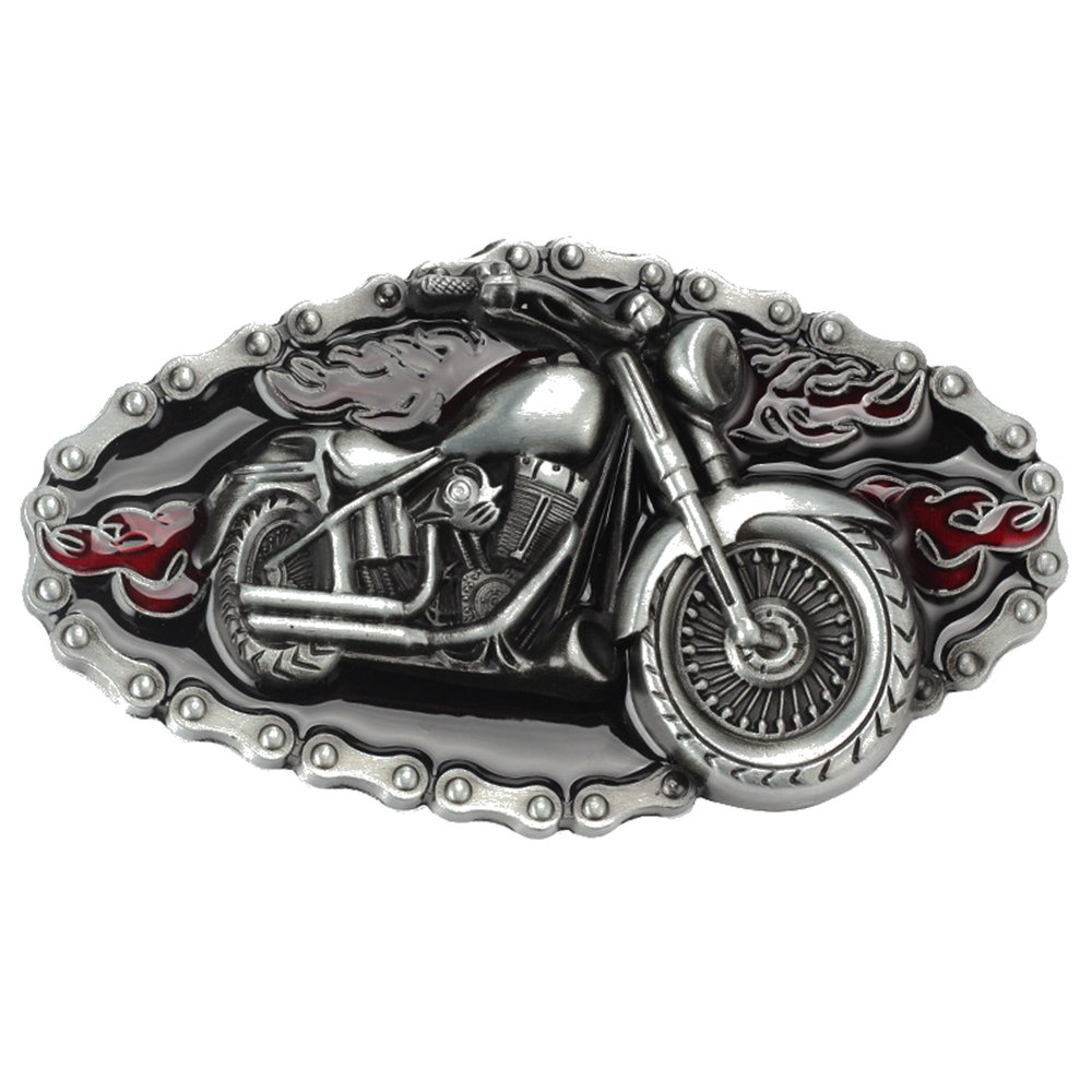 Motorcycle Belt Buckle Western Cowboy Motorcyclist (MOT-06)