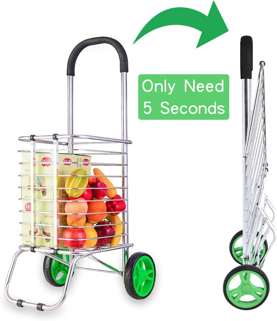 Shopping Cart Portable Grocery Utility Lightweight Stair Climbing Cart Shopping Trolley with Two Wheels for Easy Storage