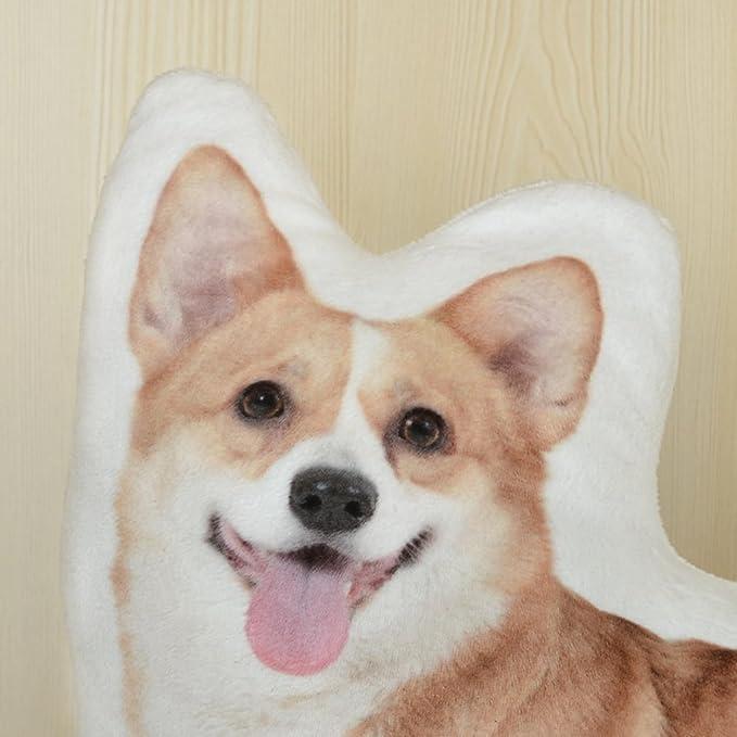 JWH Almohadas de cojín 3D para perro, de felpa super suave, hechas a mano, decorativas, para estampar animales, juguete para niños, decoración del hogar, ...
