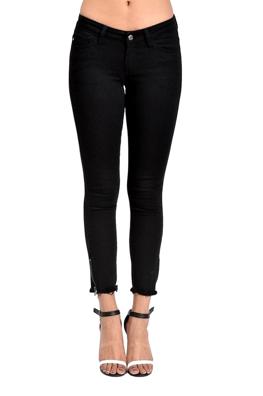 Kan Can Women's Mid Rise Skinny Jeans Black KC6051BK