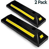 Zone Tech Heavy Duty Rubber Parking Guide - 2 Pcs Premium Quality Durable Car Garage Wheel Stopper Professional Grade Parking