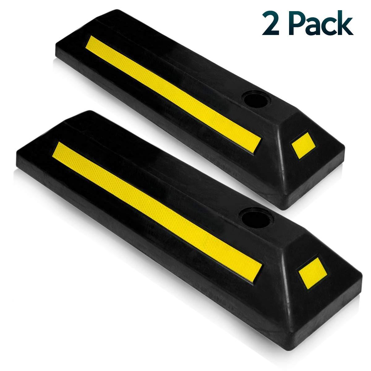 2 Pcs Premium Quality Durable Car Garage Wheel Stopper Zone Tech Heavy Duty Rubber Parking Guide