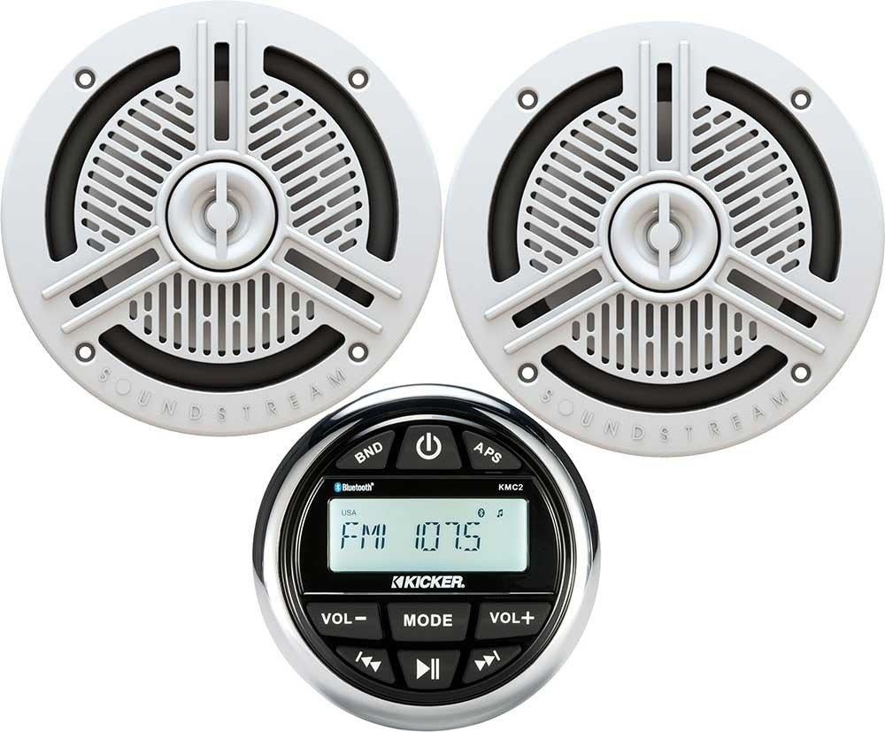 Kicker Bundle of 2 items kmc2 Marine gauge-styleデジタルメディア受信機with Soundstream ms. 65 W 6-â ½ 2ウェイスピーカーホワイト B07C8QQS4C