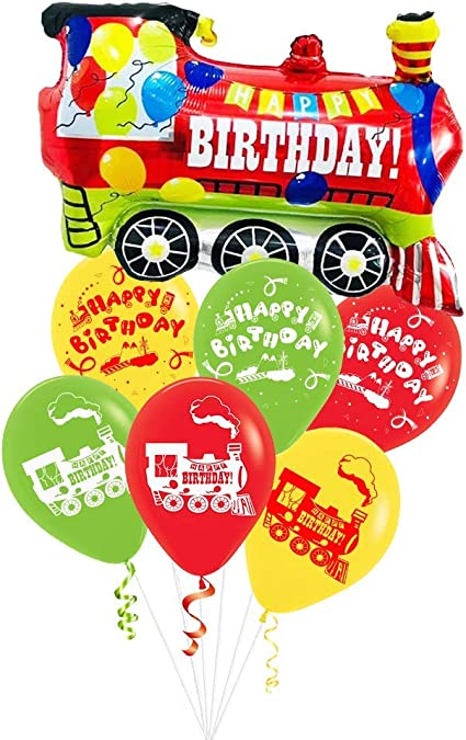 Train Birthday Party Supplies Set Train Party Decorations with Railroad Balloons Garland,Train Birthday Banner,Train Balloons,Railway Cupcake Toppers for Steam Train Birthday Party,Baby Shower