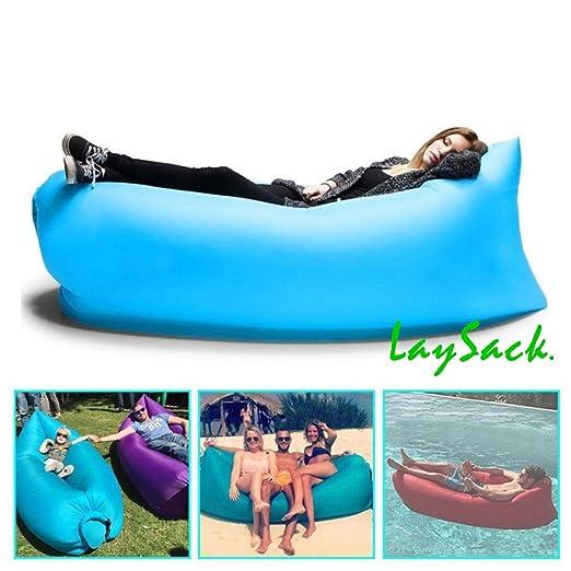 Laysack Puf Hinchable Tumbona Playa Piscina Jardín (Azul)