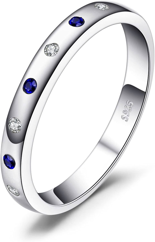 JewelryPalace Anillo elegante adornado Zafiro creado y Circonita en plata de ley 925