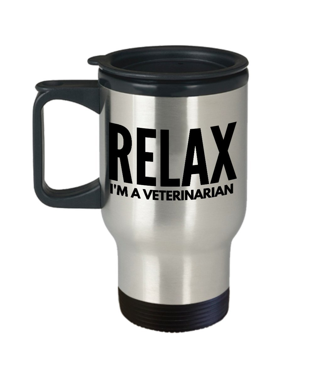 Funny veterinarianコーヒーマグ – リラックス私は医者を – 動物ギフトアイデア – 14 Gステンレススチール旅行カップ   B0742M7T8Z
