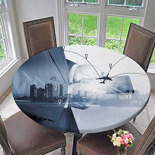 (PINAFORE HOME Modern Simple Round Tablecloth Airline Airplane Flight Path Travel Plans Freight Cargo Plane Decoration Washable 50