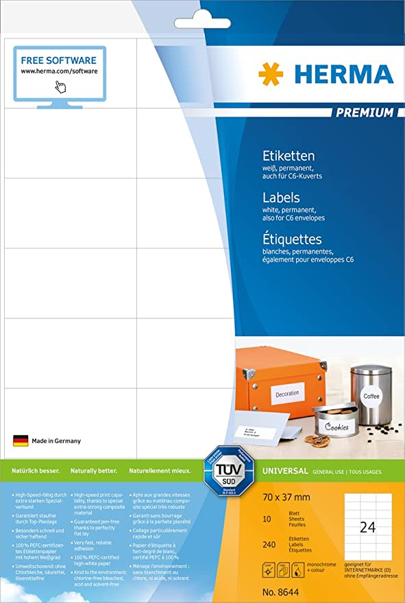 Herma 8644_ A4, 70 x 37 mm - Pack de 240 etiquetas, A4, 70 x 37 mm, color blanco: Amazon.es: Oficina y papelería