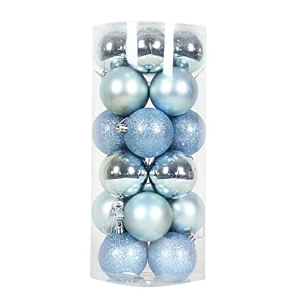 remeehi 24pcs barrelled christmas balls ornaments colored xmas tree decorations 8cm3 light - Light Blue Christmas Ornaments