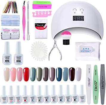 Elite99 Lámpara UV LED para Uñas 24w, 12 Colores Kit de Esmaltes Semipermanentes en Gel UV LED, Base y Top Coat, Removedor de Uñas 001: Amazon.es: Belleza