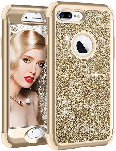 iPhone 8 Plus Case, Vofolen iPhone 8 Plus Case Glitter Bling Shiny Heavy Duty Protection Full-Body Protective Hard Shell Rubber Bumper Armor with Front Cover for iPhone 8 Plus iPhone 7 Plus - Gold
