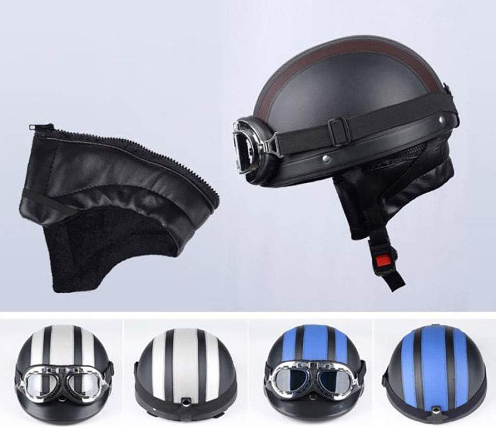 Motorroller Jethelm Mit Halstuch Visor Uvschutzbrille Retro Vintage Style Motocross-Helm 54-60cm WYYHAA Motorradhelm