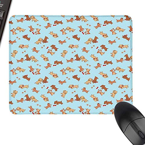 Dog Anti-Slip Mouse Mat Checkered Square Pattern Background Playful Puppies Paw Print Golden Retriever Breed Keyboard Mouse Pad 23.6