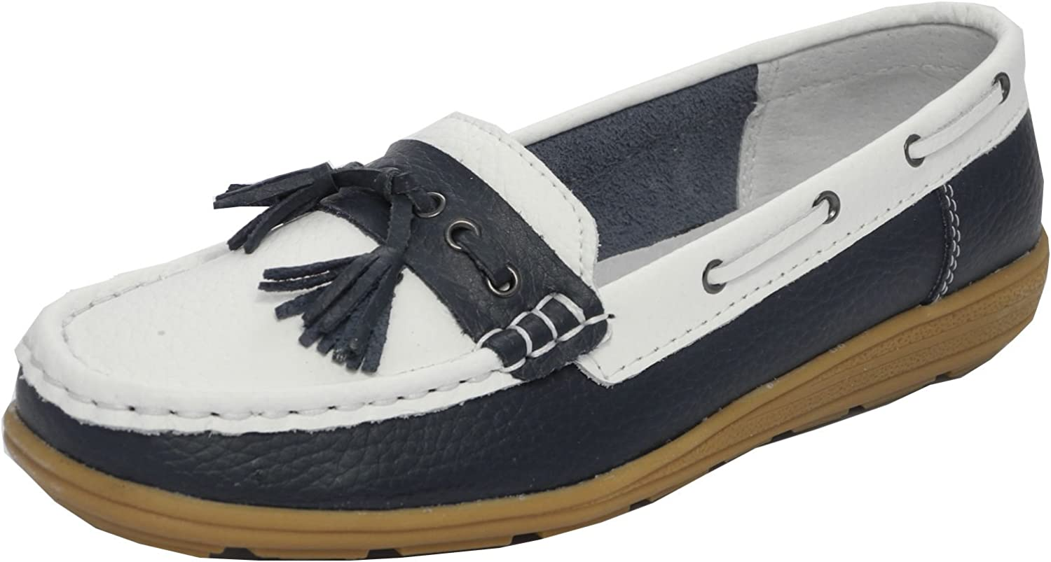 Womens Ladies Real Leather Boat Deck