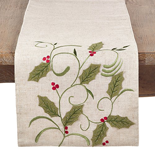 - Occasion Gallery Natural Applique Holly Leaves Christmas Holiday Table Runner, 13