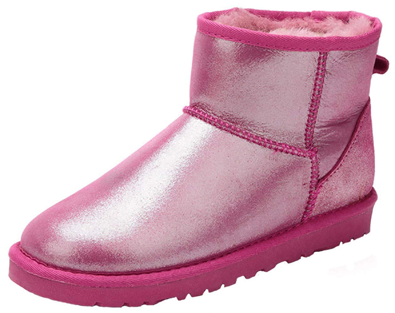 Qiusa Bottes de Neige en Cuir épaisses et Chaudes Chaudes Chaudes pour Femmes en Cuir (Couleuré   1, Taille   38EU) abf