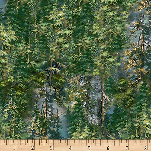 Timeless Treasures Saddle River Forest Trees Forest Fabric Fabric by the Yard