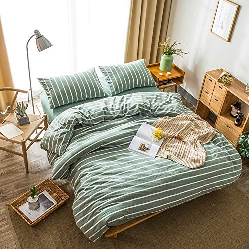 DOUH Washed Cotton Duvet Cover King, 3 Pieces Striped Duvet Cover Set, Ultra Soft and Easy Care Green Bedding Set for Men, Women, Boys and -