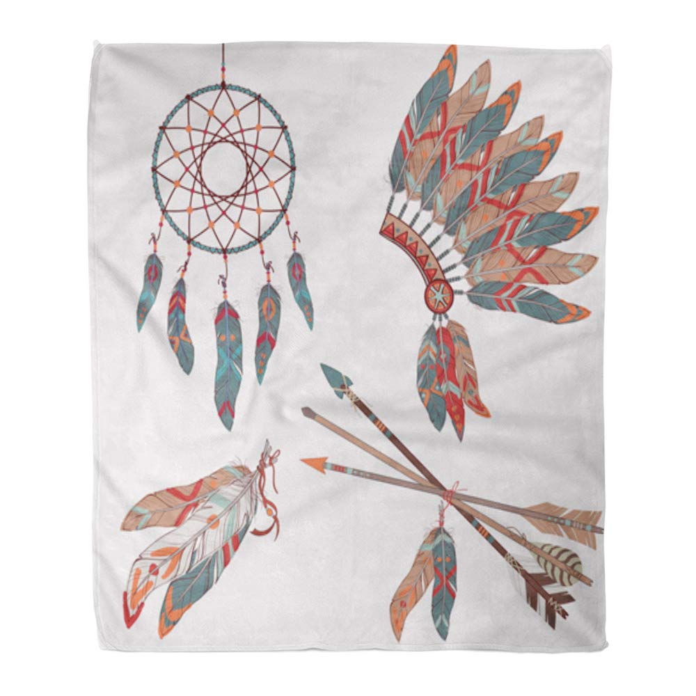 Emvency Throw Blanket Warm Cozy Print Flannel Colorful Ethnic Dream Catcher Feathers Arrows and Native American Indian Chief Comfortable Soft for Bed Sofa and Couch 60x80 Inches