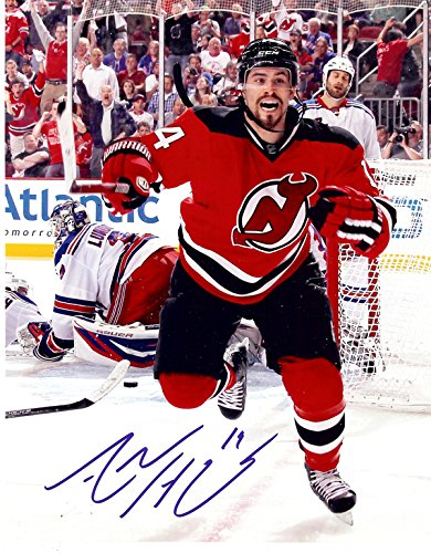 New Jerseys Devils Adam Henrique Game Winning Goal, Autographed 8x10 Photo From Game 6 Of The Eastern Confrence Finals During The 2012 Stanley Cup Playoffs