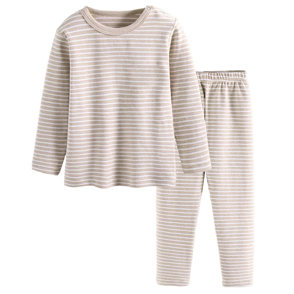 GLEAMING GRAIN Little Girls Thermal Underwear Girls Long Sleeve Striped Pajamas Organic Cotton Apparel Crewneck PJ Set Khaki 8T by GLEAMING GRAIN