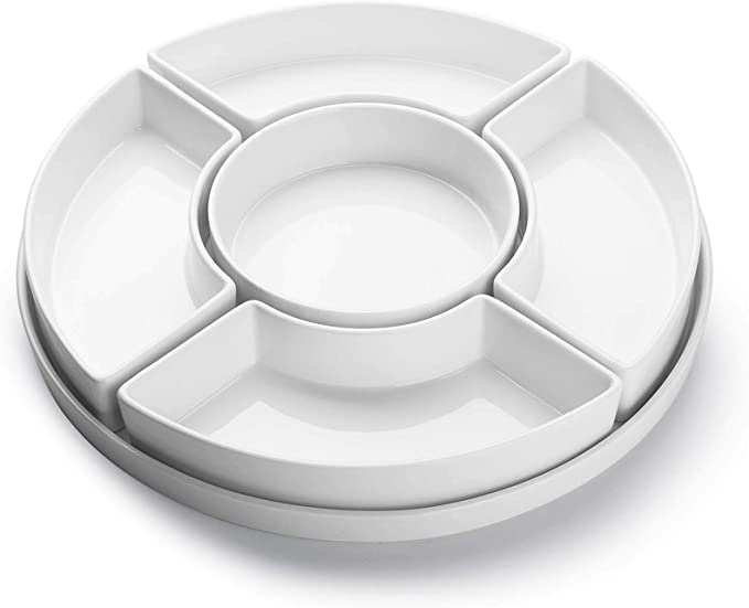 Sweese 707 001 Porcelain Divided Serving Dishes Relish Tray Serving Bowls For Parties Perfect For Chips And Dip Veggies Candy And Snacks White Chip Dip Sets