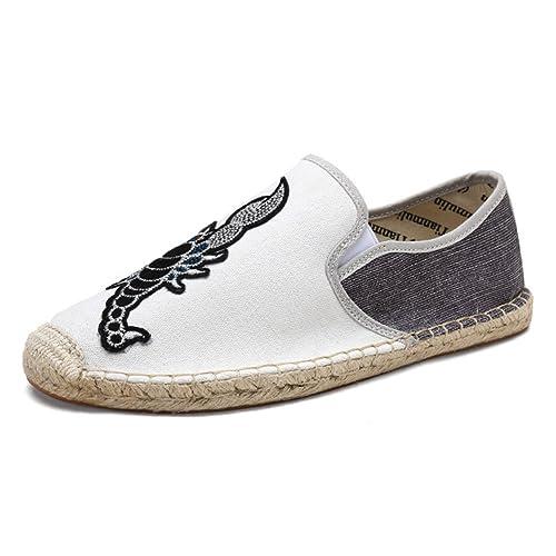 Estilo Chino Lona Zapatillas para Hombre Lino Espadrilles Blanco Alpargatas: Amazon.es: Zapatos y complementos