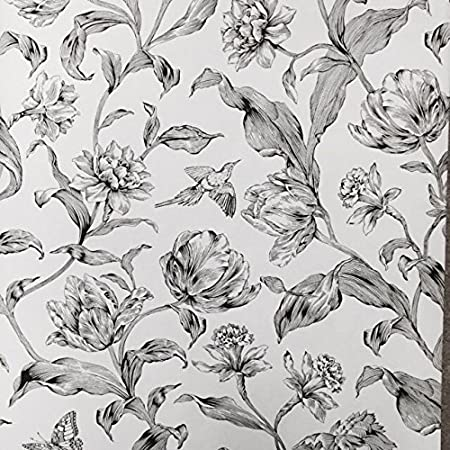 Casadeco Black And White Floral Wallpaper Ccd 16439122