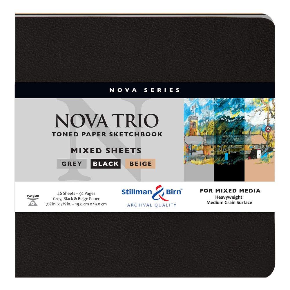 Stillman & Birn Nova Series Trio Softcover Sketchbook, 7.5'' x 7.5'', 150 gsm (Heavyweight), Beige, Grey & Black Paper, Medium Grain Surface by Stillman & Birn