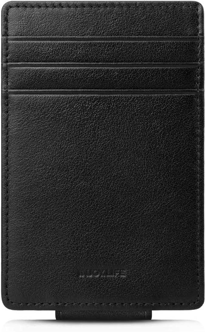 Money Clip, INJOYLIFE Genuine Leather Front Pocket Wallet Strong Magnet RFID Blocking Card Holder for Mens Women