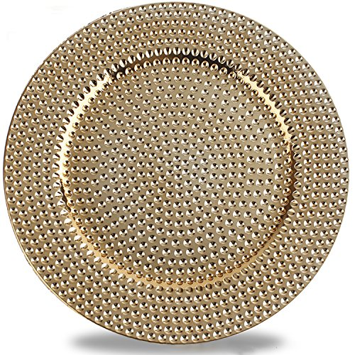 Fantastic:)TM Round 13 Inch Plastic Charger Plates with Eletroplating Finish (1, Hammer Gold) (Gold For Plates 1 Charger)