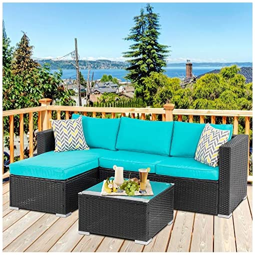 Garden and Outdoor Walsunny Outdoor Furniture Patio Sets,Low Back All-Weather Small Rattan Sectional Sofa with Tea Table&Washable Couch… patio furniture sets