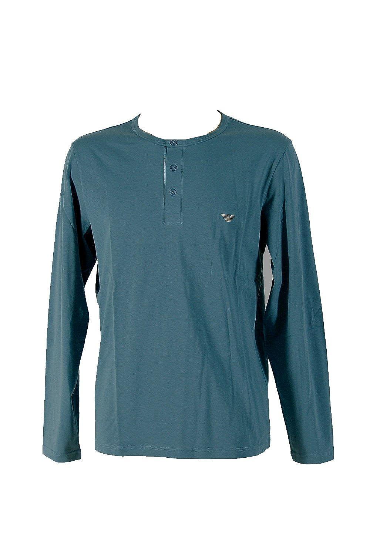 Emporio Armani Henley Sweater Longsleeve Langarm Shirt mit Knopfleiste