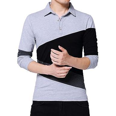 YpingLonk Camiseta Hombre Costura Color De Contraste Manga Larga ...