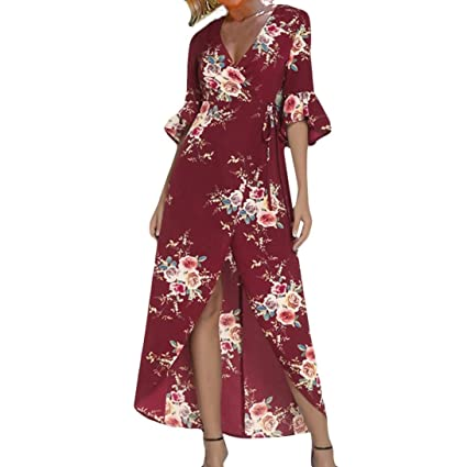 53d9c928d89 Usstore Women Summer Dresses Half Sleeve Printing Maxi Long Dress For Women  (Red