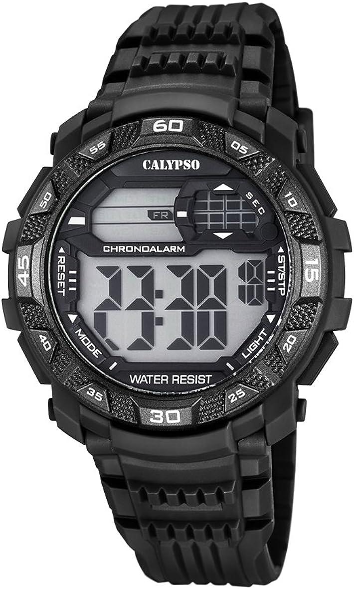 Calypso Hombre Reloj Digital con Pantalla LCD Pantalla Digital Dial y Correa de plástico en Color Negro k5702/8