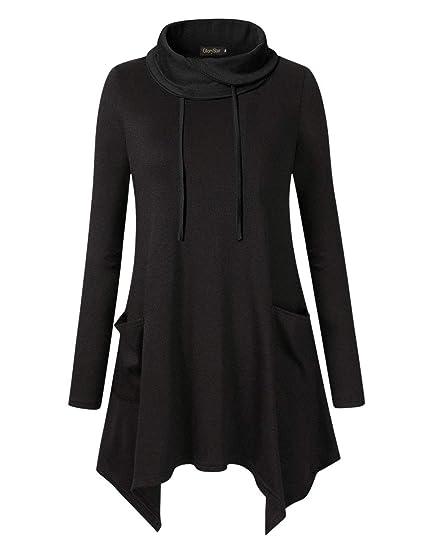 dcef04a8cf7 Glorystar Women's Long Sleeve Cowl Neck Asymmetrical Hem Tunic Tops  Sweatshirts with Pockets Black M