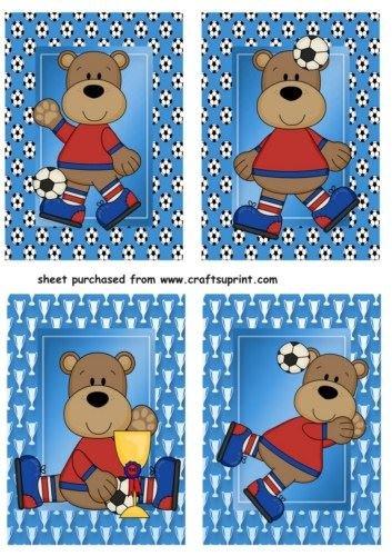 4 azul de balón de fútbol/fútbol oso de peluche adornos de Sharon ...