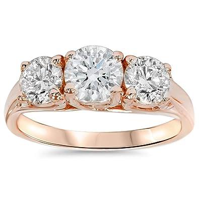 1 3 8ct 3-Stone Diamond Engagement Ring 14K Rose Gold Past Present Future 9d60d3e5dd