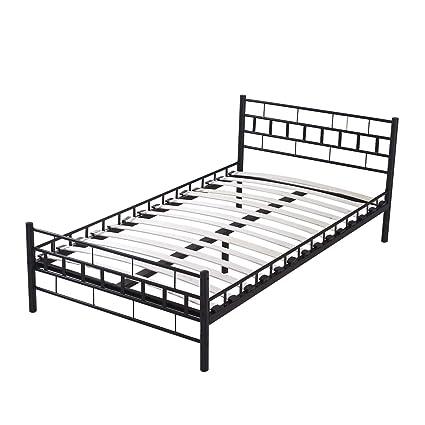 Amazon.com: Sliverylake Twin Size Metal Frame Platform Bed Bedroom ...