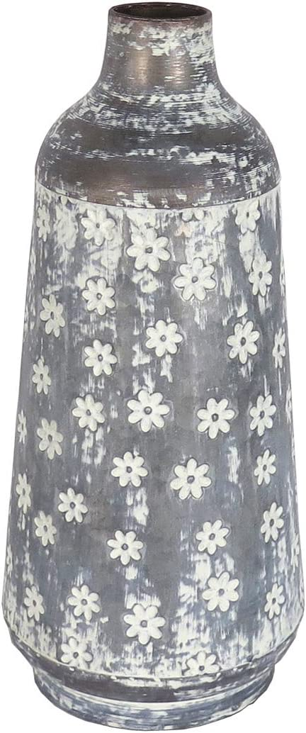 Foreside Home and Garden Rustic Whitewashed Floral Galvanized Metal Decorative Vase