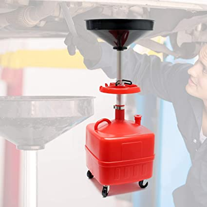Recogedor aceite por gravedad 35L Contenedor drenaje aceite Cambio aceite Altura regulable 69-175 cm