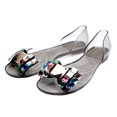 e805728179e Omgard Woman Transparent Jelly Sandals Crystal Soft Flat Summer Beach Shoes  Color Black Size 6